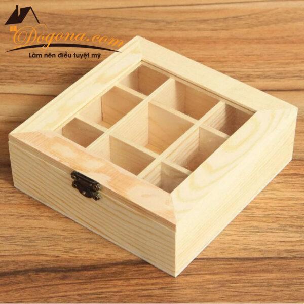Hộp đựng túi trà gỗ 9 ngăn tiện dụng